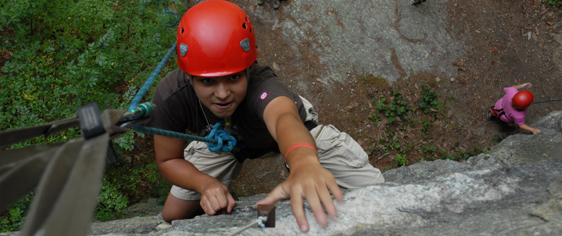 Teen Repelling during Rock Climbing Camp