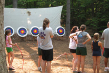 Outdoor acrchary class at Girls Summer Camp
