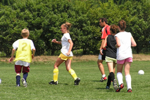 Soccer training at summer camp